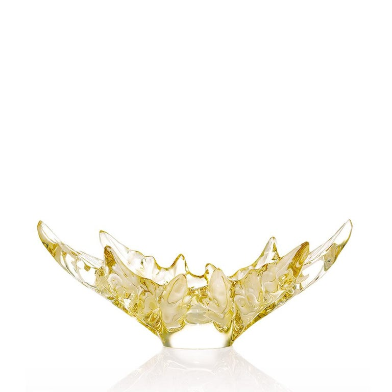 For Sale: Gold (Gold Luster) Medium Champs-Élysées Bowl in Crystal Glass by Lalique