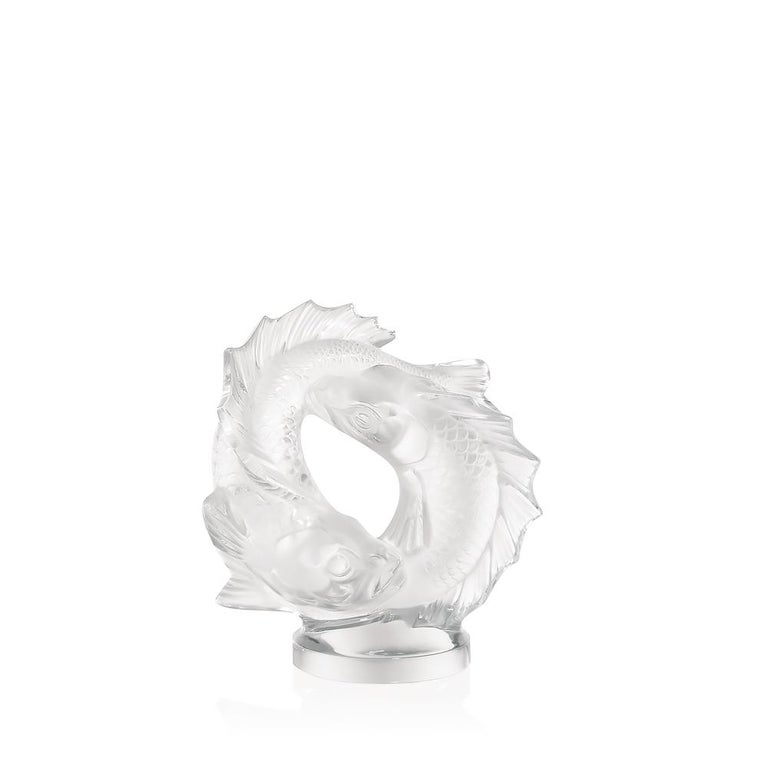 For Sale: Clear Medium Double Fish Sculpture in Crystal Glass by Lalique 3