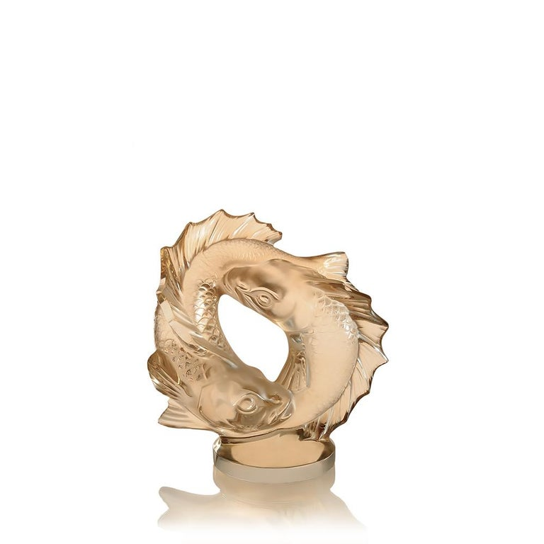 For Sale: Gold (Gold Luster) Medium Double Fish Sculpture in Crystal Glass by Lalique