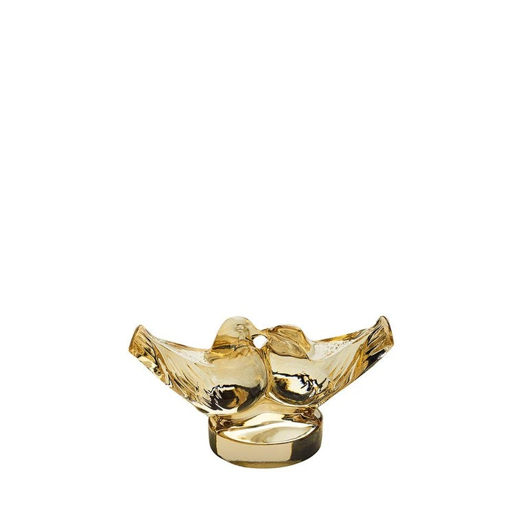 For Sale: Gold (Gold Luster) Small Two Love Birds Sculpture in Crystal Glass by Lalique