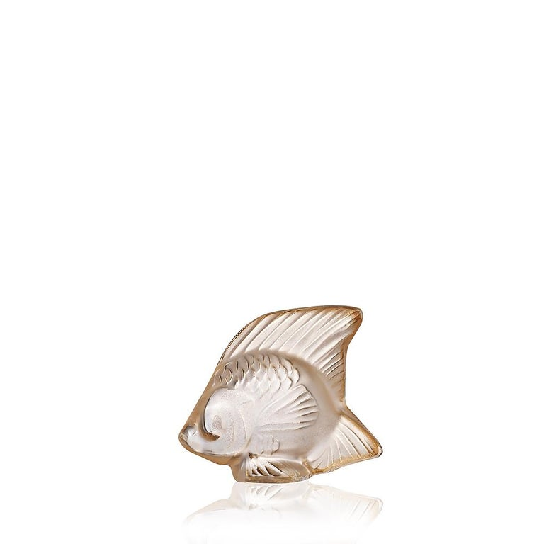 For Sale: Gold (Gold Luster) Fish Sculpture in Crystal Glass Luster by Lalique 3