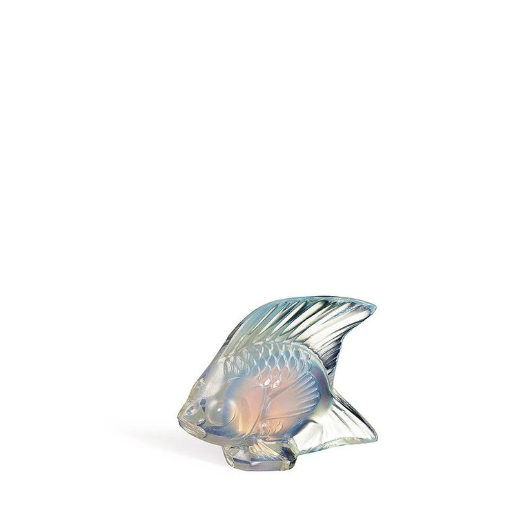 For Sale: White (Opalescent Luster) Fish Sculpture in Crystal Glass Luster by Lalique