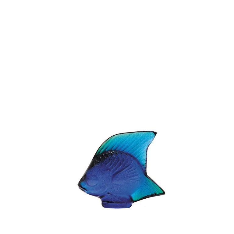 For Sale: Blue (Cap Ferrat Blue Luster) Fish Sculpture in Crystal Glass Luster by Lalique
