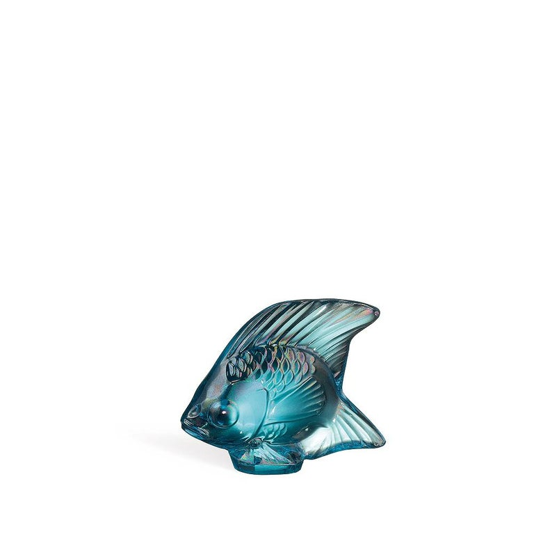 For Sale: Blue (Turquoise Luster) Fish Sculpture in Crystal Glass Luster by Lalique