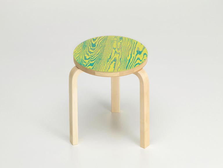 For Sale: Green (green/yellow ColoRing) Artek Stool 60 ColoRing by Alvar Aalto and Jo Nagasaka 2