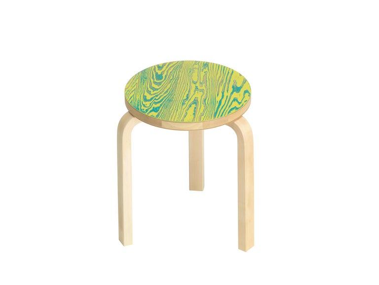 For Sale: Green (green/yellow ColoRing) Artek Stool 60 ColoRing by Alvar Aalto and Jo Nagasaka