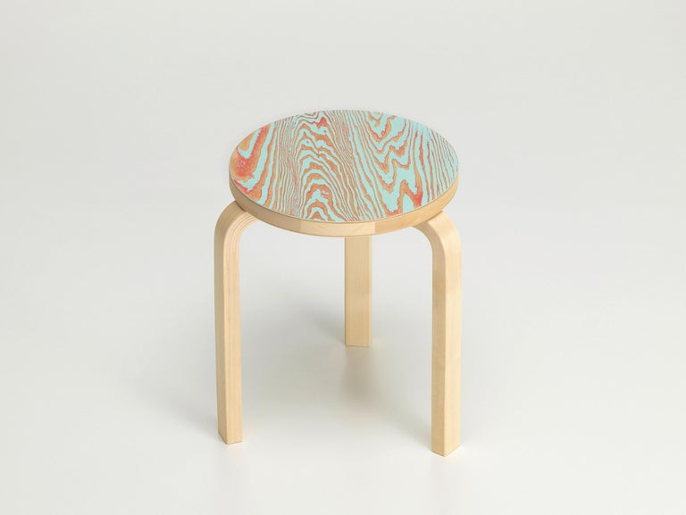 For Sale: Blue (red/turqouise ColoRing) Artek Stool 60 ColoRing by Alvar Aalto and Jo Nagasaka 2