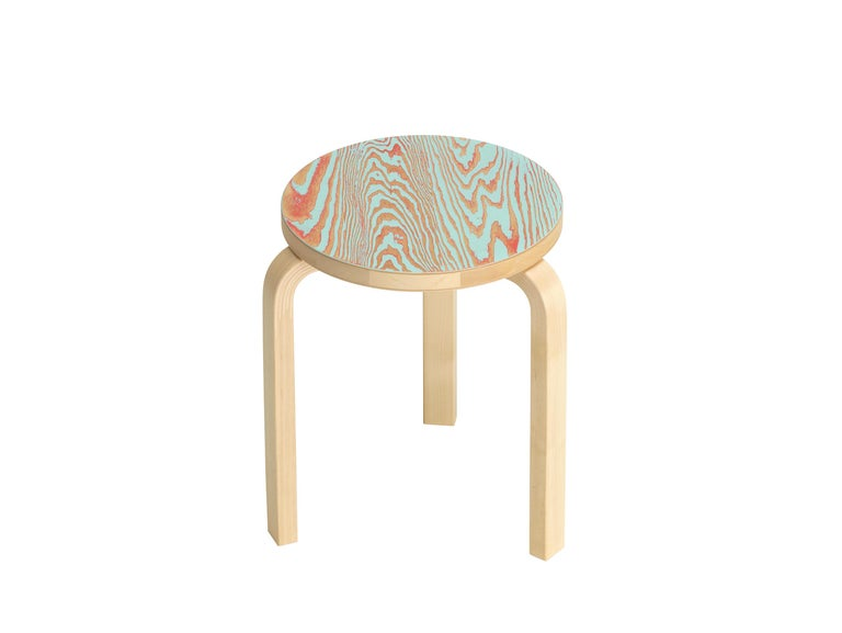 For Sale: Blue (red/turqouise ColoRing) Artek Stool 60 ColoRing by Alvar Aalto and Jo Nagasaka