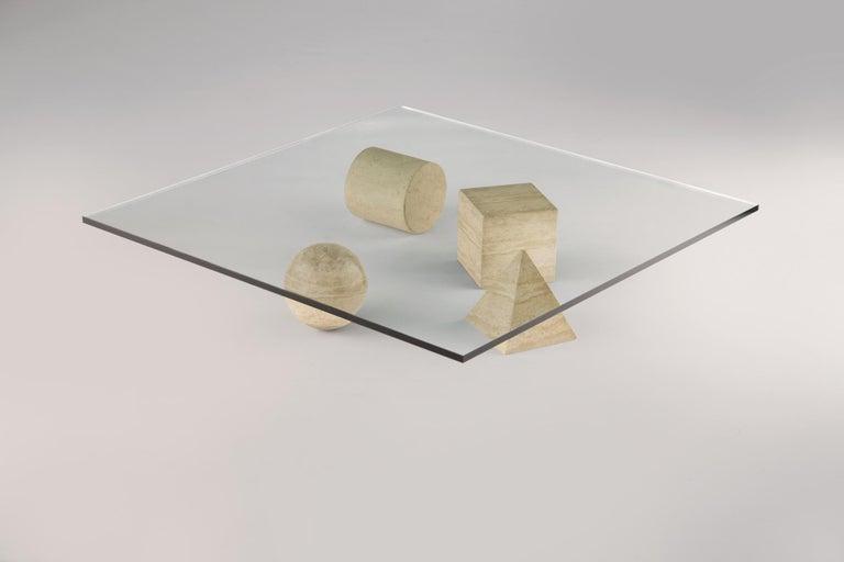 For Sale: Beige (Travertine) Martinelli Luce Metafora 1979 Table by Lella and Massimo Vignelli 2