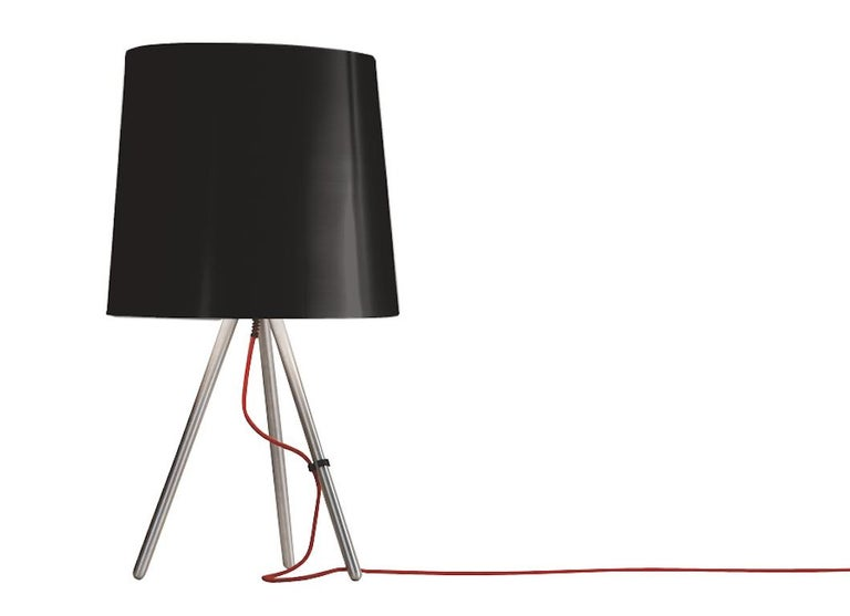 For Sale: Black Martinelli Luce Eva 798 Large Table lamp with Satin Aluminum Body