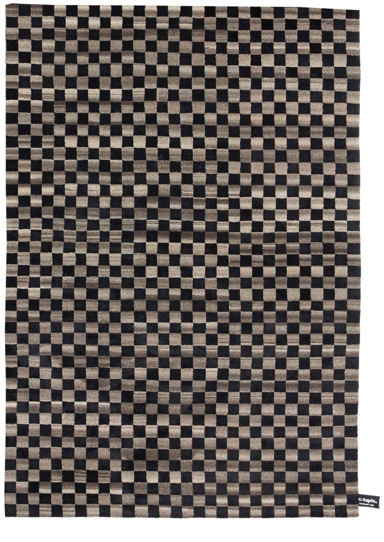 For Sale: Black (Dark Black) Damier 2.0 Rug by CC-Tapis