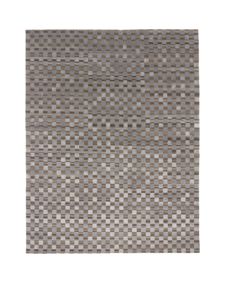 For Sale: Gray (Dark Ice) Damier 2.0 Rug by CC-Tapis