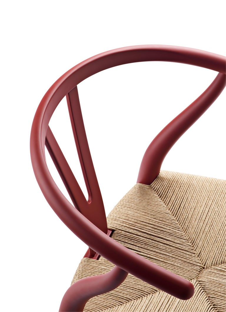 For Sale: Red (Soft Red) CH24 Wishbone Chair in Soft Colors by Hans J. Wegner 4