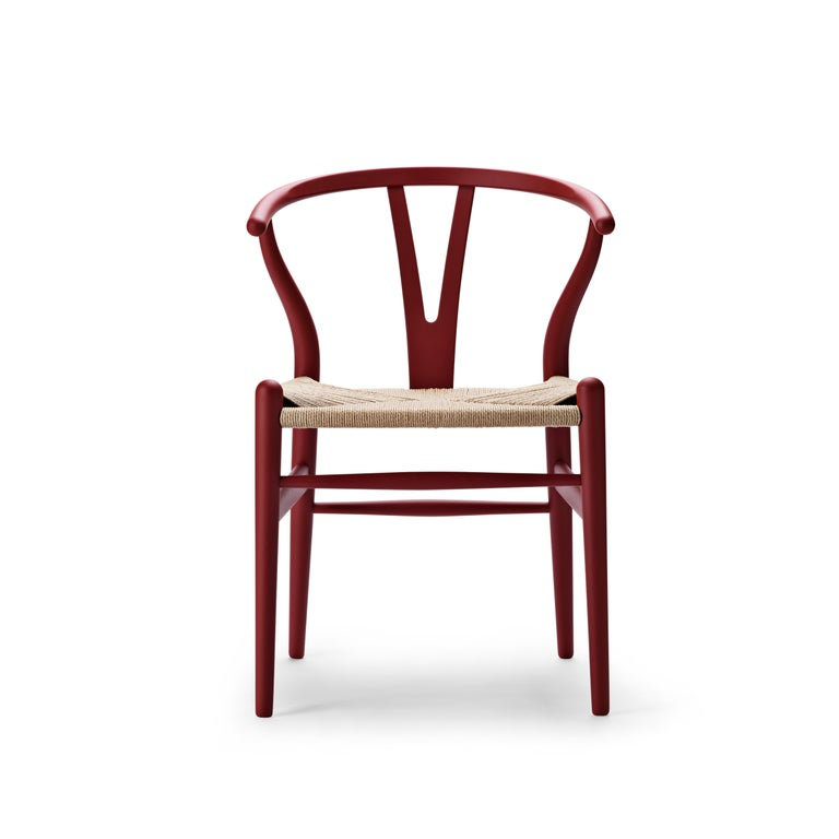 For Sale: Red (Soft Red) CH24 Wishbone Chair in Soft Colors by Hans J. Wegner