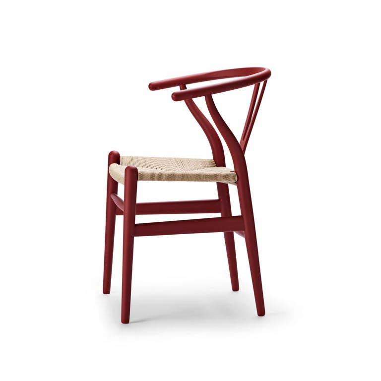 For Sale: Red (Soft Red) CH24 Wishbone Chair in Soft Colors by Hans J. Wegner 2