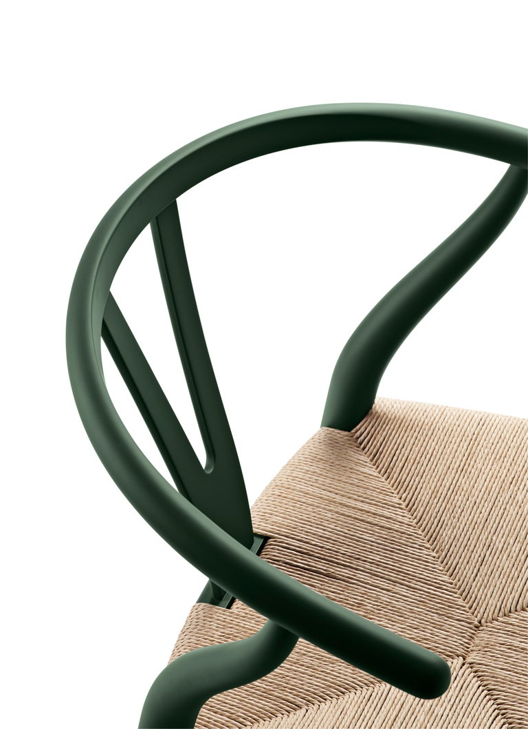For Sale: Green (Soft Green) CH24 Wishbone Chair in Soft Colors by Hans J. Wegner 4
