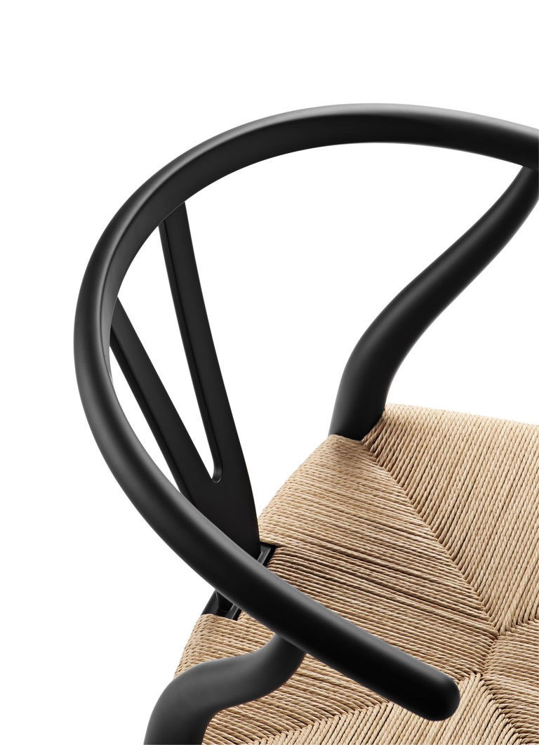 For Sale: Black (Soft Black) CH24 Wishbone Chair in Soft Colors by Hans J. Wegner 4