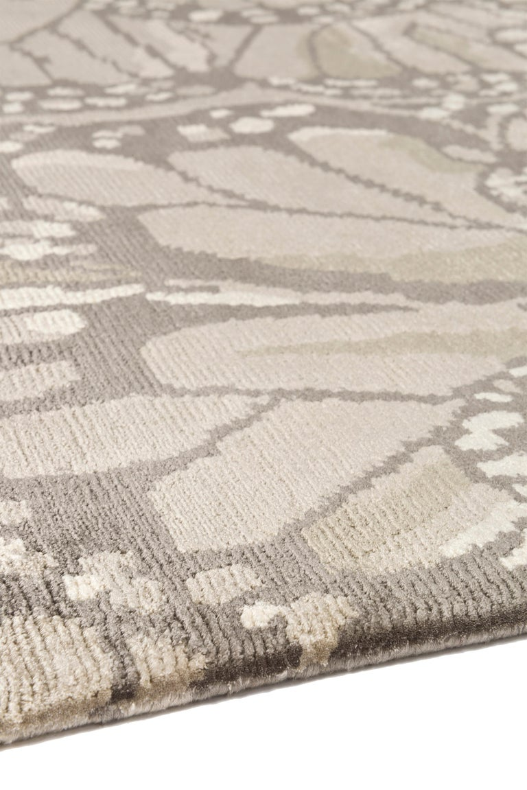 Contemporary Monarch Smoke Hand-Knotted 12x9 Rug in Silk by Alexander McQueen For Sale