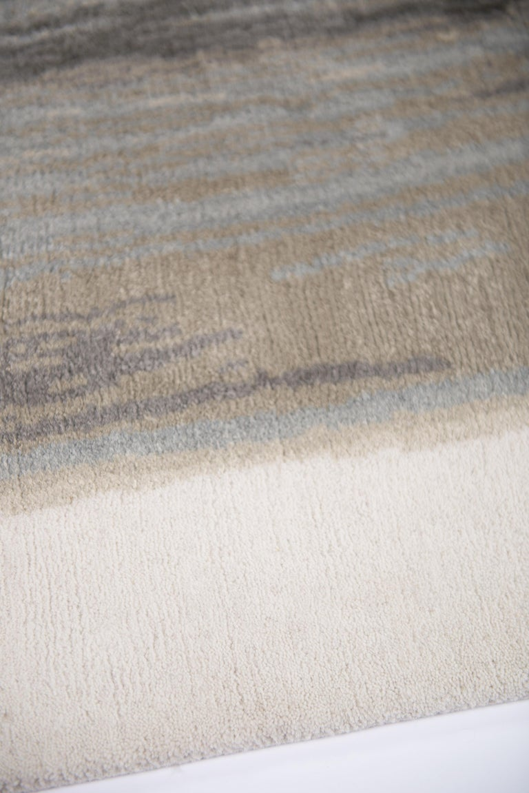 Modern Brushstrokes Hand Knotted 9x6 Rug in Wool and Silk by Elie Saab For Sale