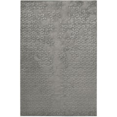 Star Silk Charcoal Hand Knotted 10x8 Rug in Silk by Helen Amy Murray