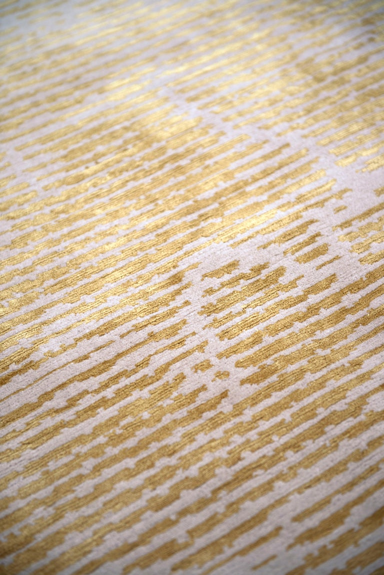 Hand-Knotted Staccato Hand Knotted 10x8 Rug in Wool and Silk by Kelly Wearstler For Sale
