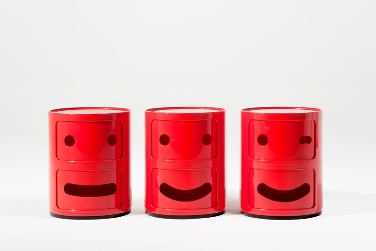 Italian Kartell Componibili 2-Tier Drawer in Smile Red by Anna Castelli Ferrieri For Sale