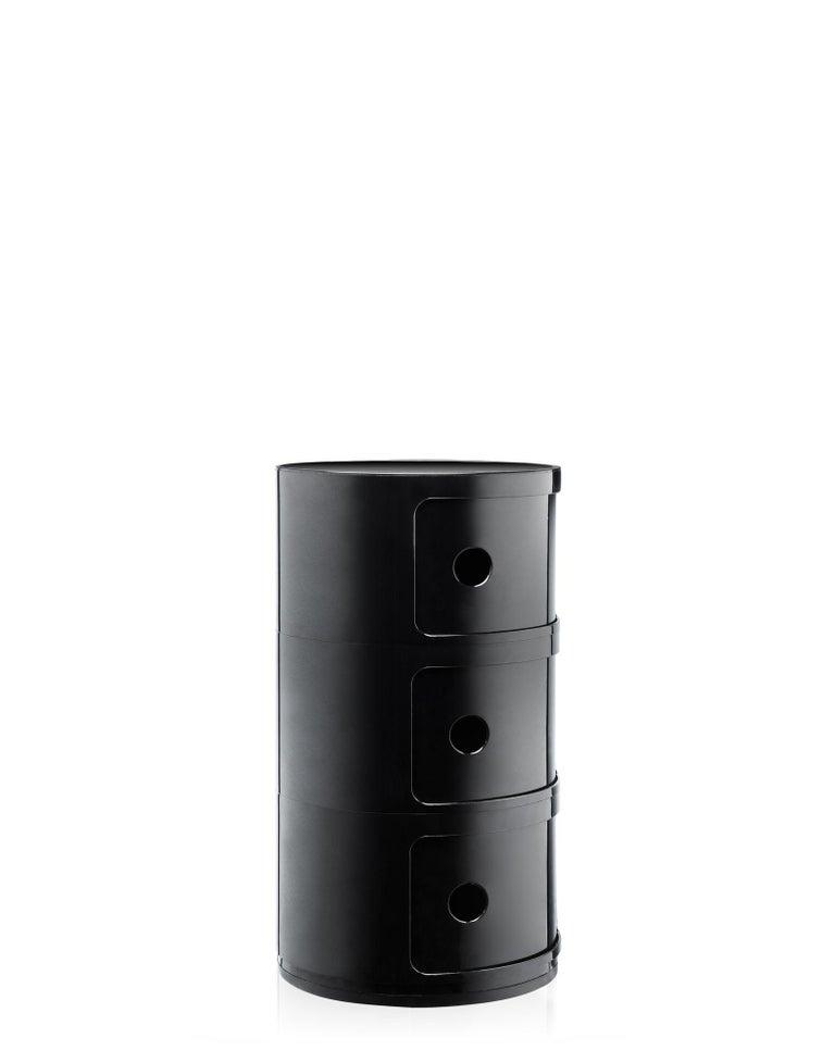 Modern Kartell Componibili 3-Tier Drawer in Black by Anna Castelli Ferrieri For Sale