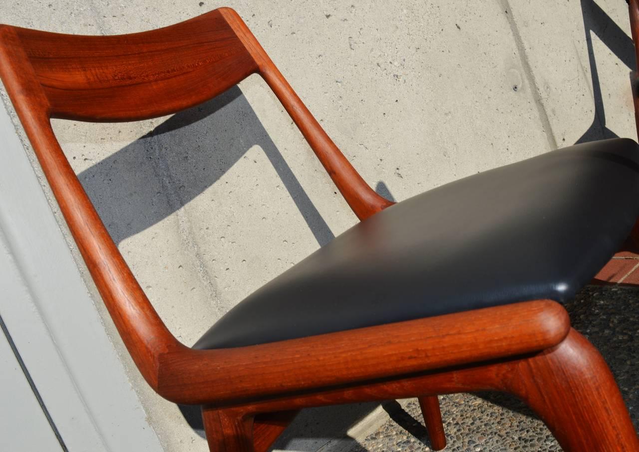 Set Of Eight Restored Erik Christensen Teak Boomerang Dining Chairs 3