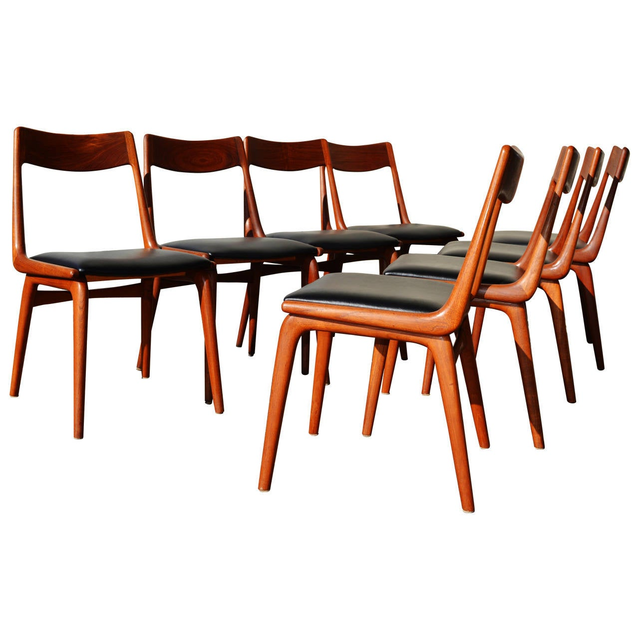 Charming Set Of Eight Restored Erik Christensen Teak Boomerang Dining Chairs 1