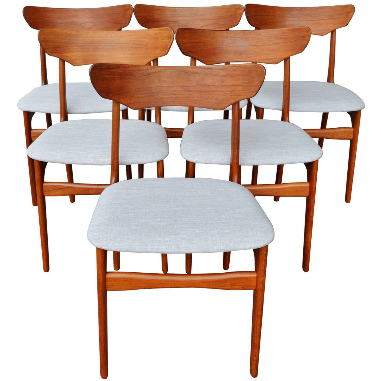Set of six randers bent ply teak dining chairs at 1stdibs
