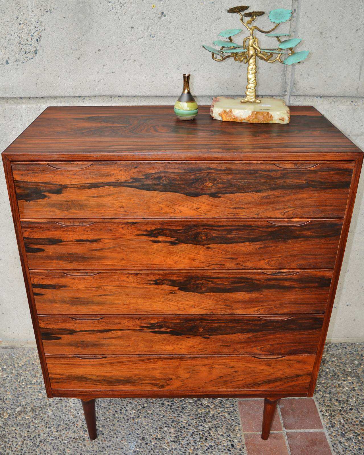 Pair of vintage danish rosewood and brushed steel side cabinets ref - Danish Modern Rosewood Highboy Dresser Or Chest Of Drawers 2