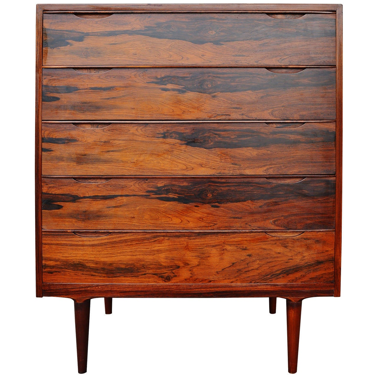 Danish modern rosewood highboy dresser or chest of drawers