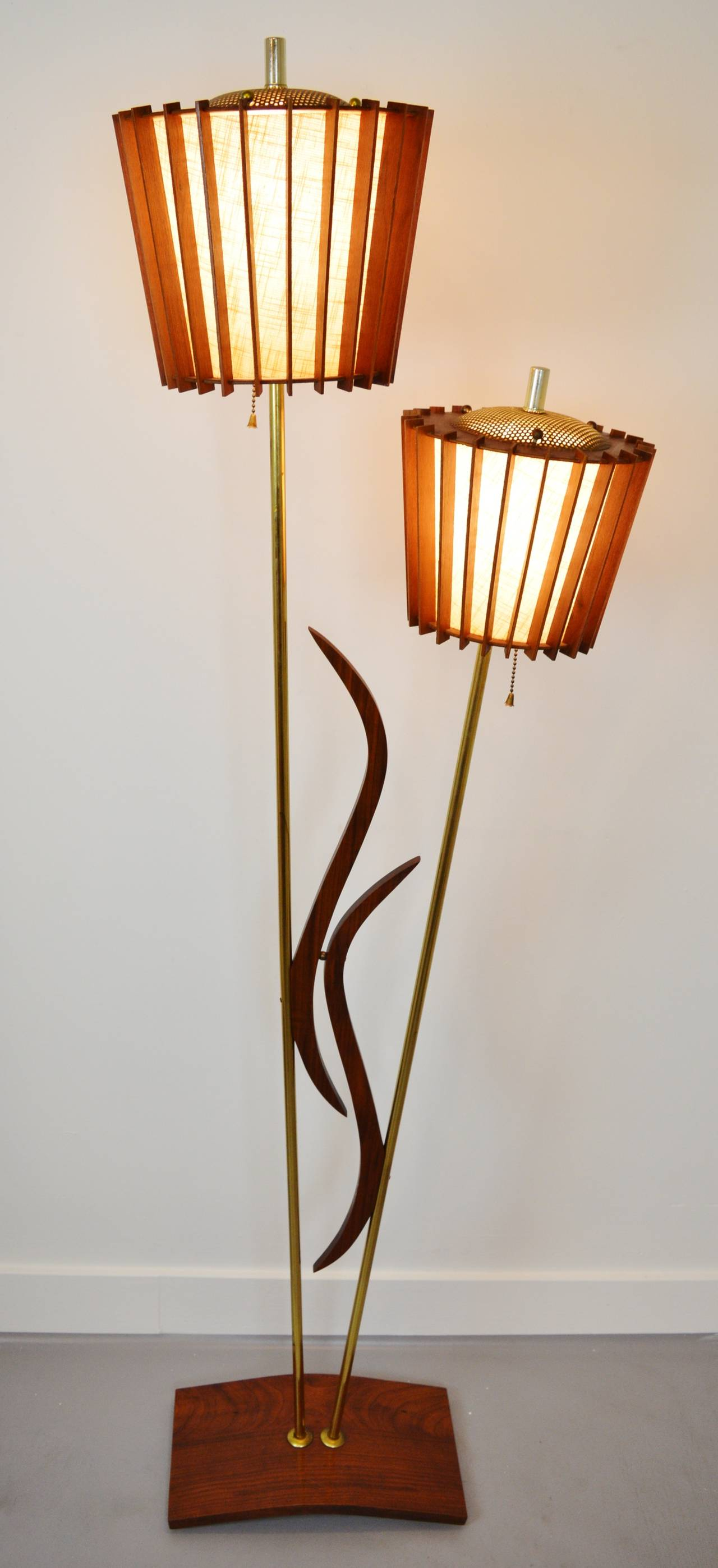 Mid century modern brass table lamps - Pair Of Mid Century Modern Walnut Teak And Brass Double Headed Lamps