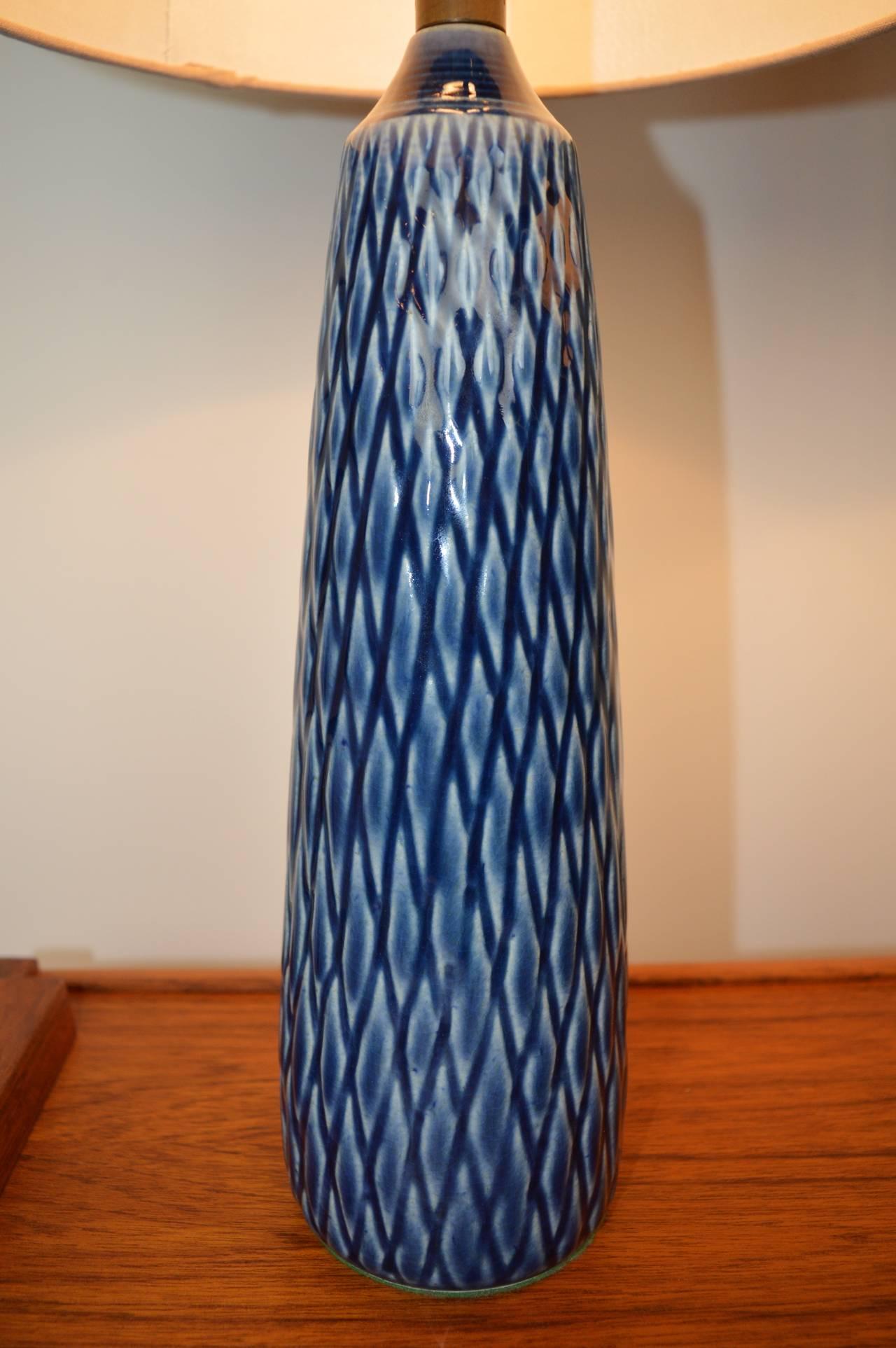 Rare Pair Of Danish Modern Textured Ceramic Lotte Lamps In
