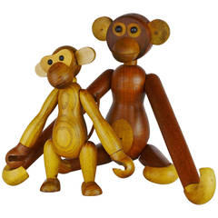 Pair of Vintage Articulated Monkeys in Teak and Other Woods