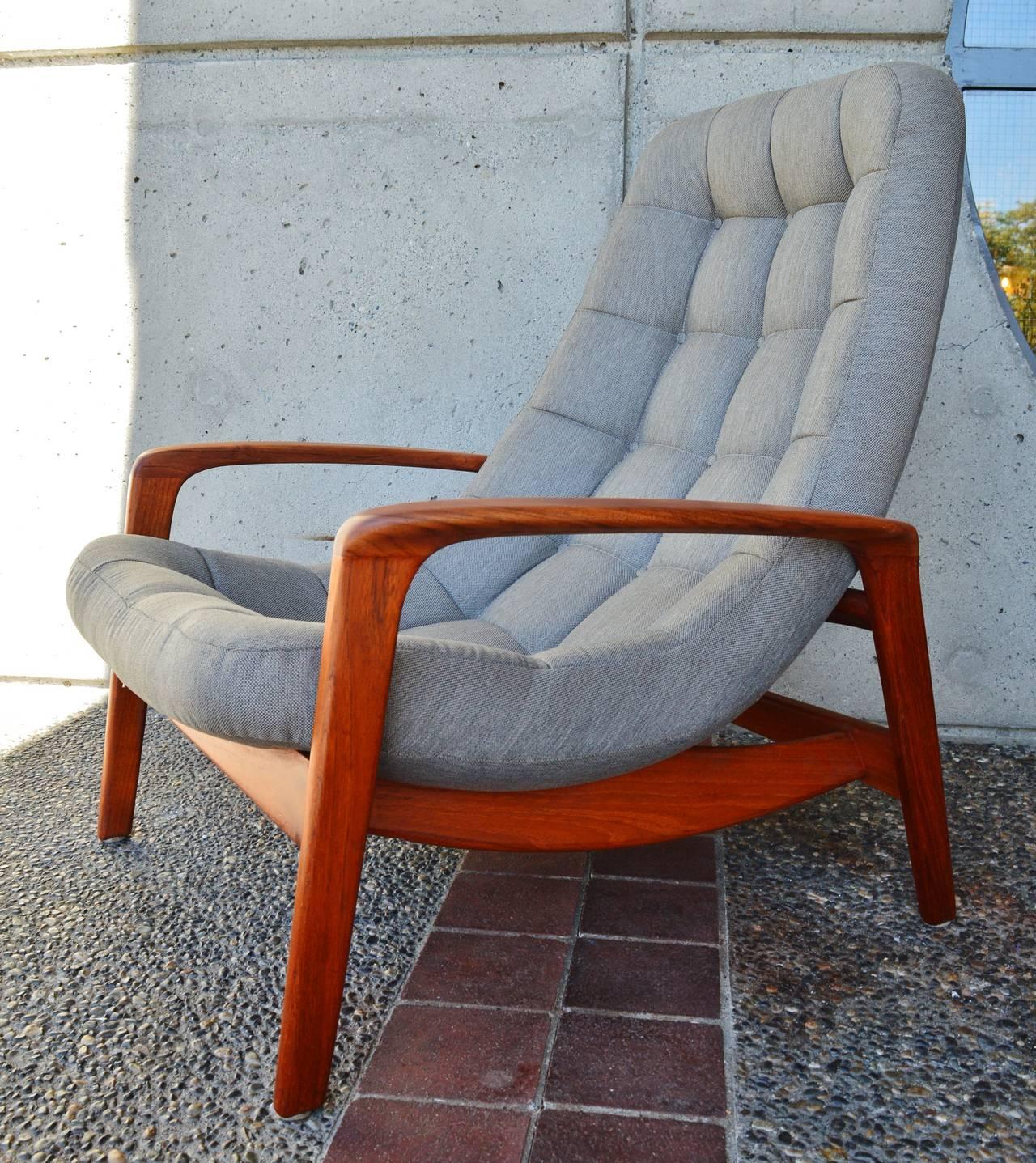Mid Century Modern Danish Style Teak On Tufted Lounge Chair Ottoman For