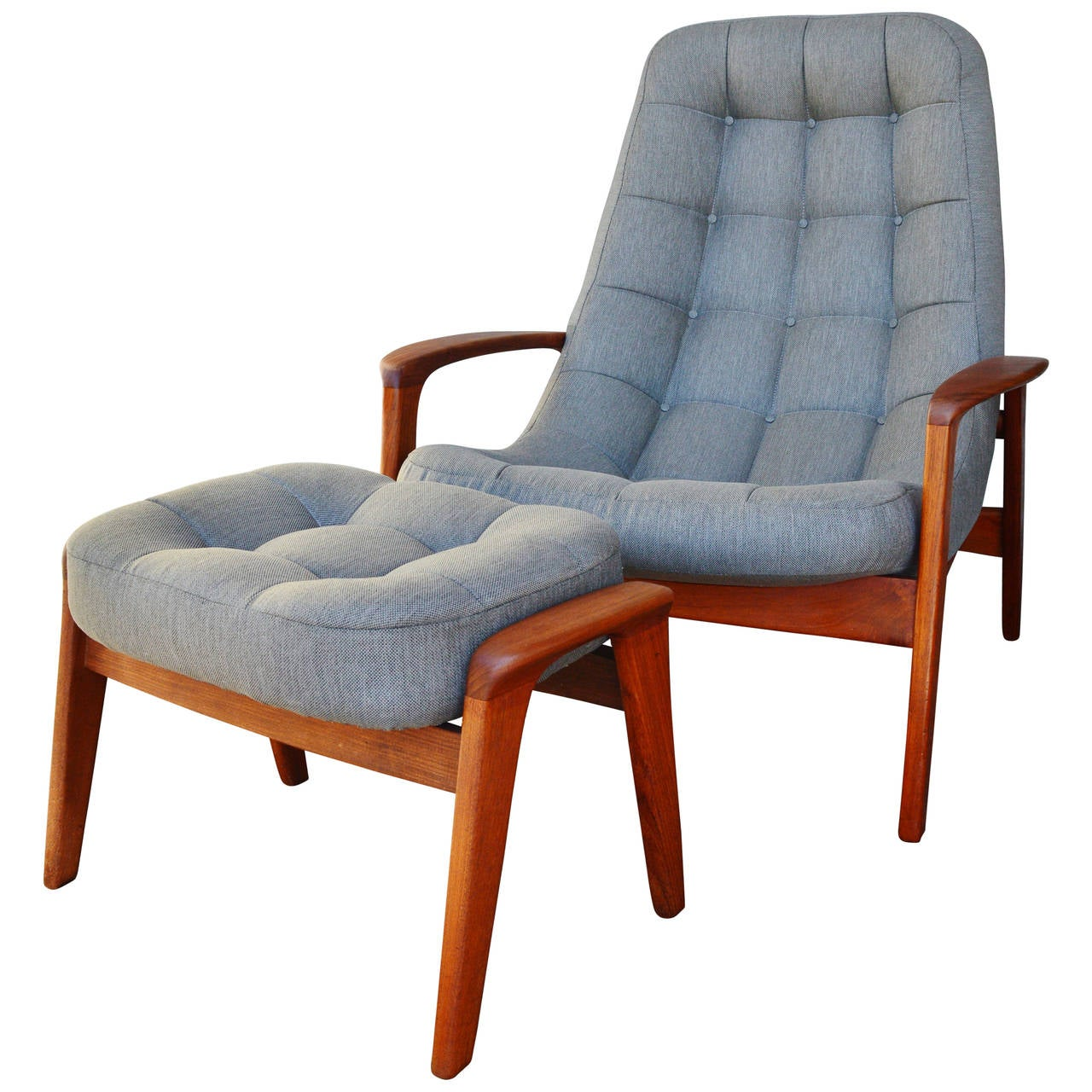 Danish Modern Style Teak Button Tufted Lounge Chair and Ottoman at 1stdibs