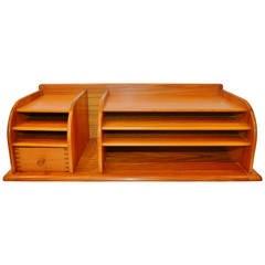 Danish Modern Solid Teak Desk Organizer by Kai Kristiansen