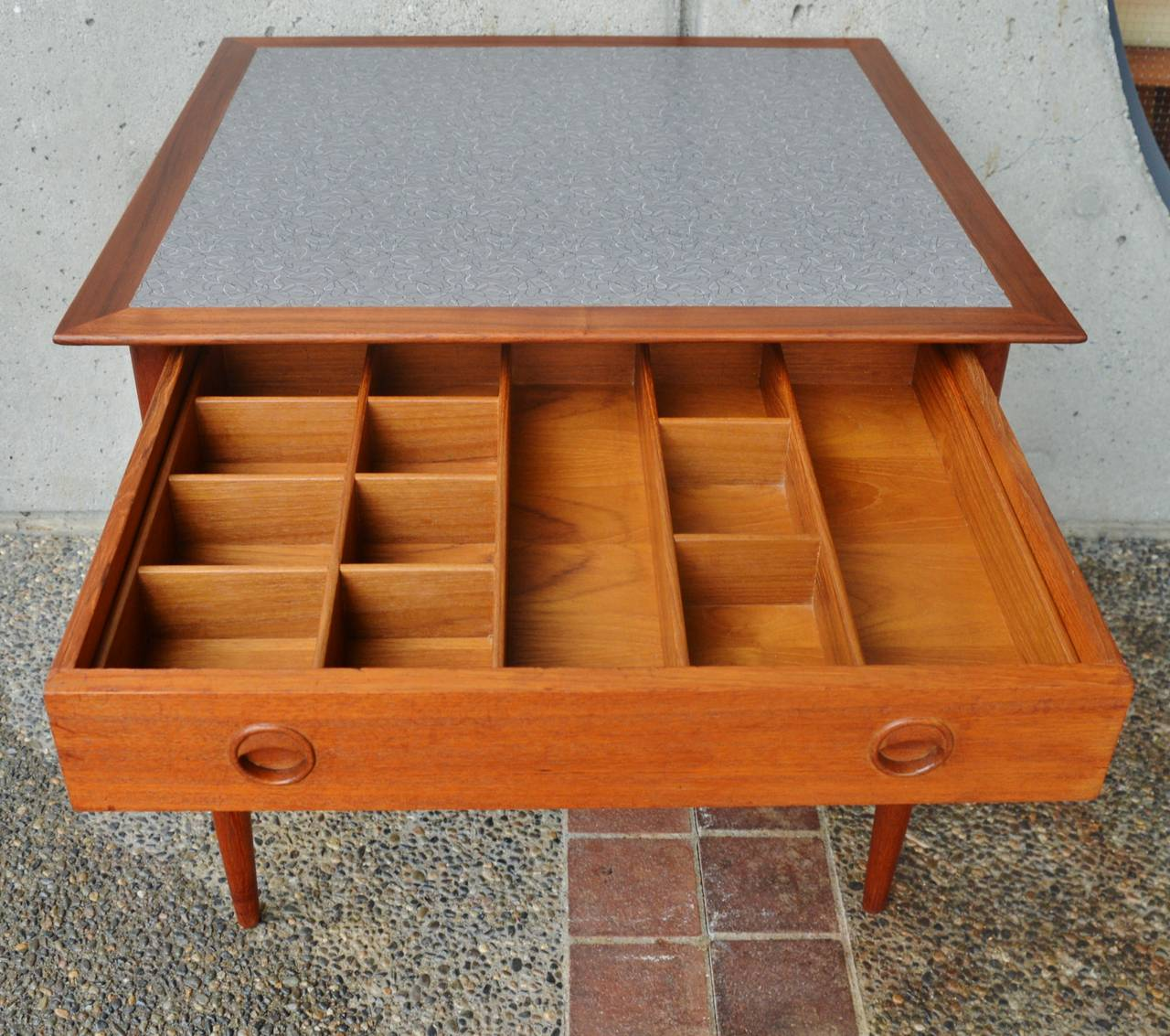 Danish teak craft sewing table cabinet at 1stdibs for Craft cupboard with table
