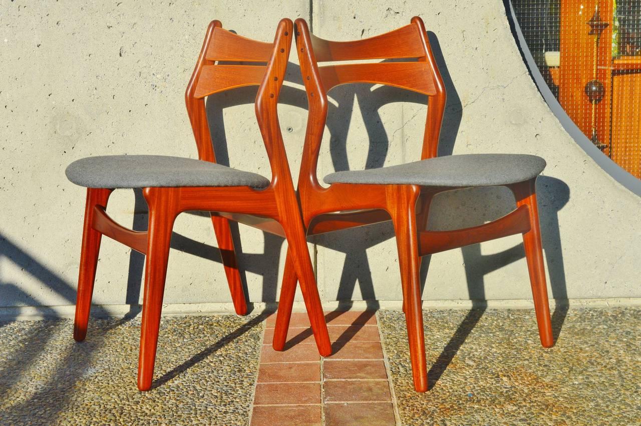 Set Six Danish Teak Erik Buck Dining Chairs, Five Side