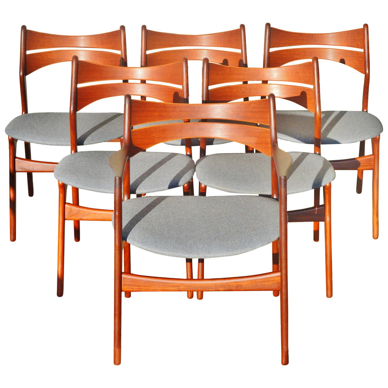 this set six danish teak erik buck dining chairs five side chairs and