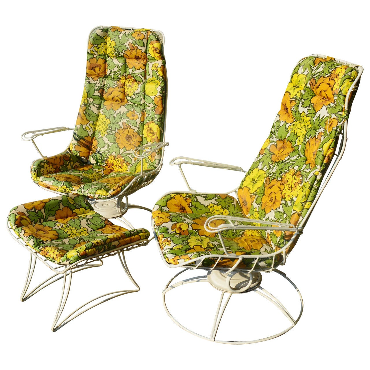 Rare Pair Homecrest Rocking Lounge Chairs And Ottoman W