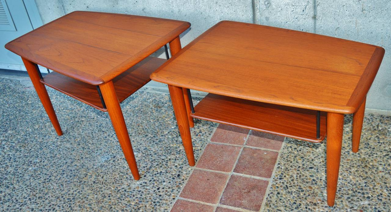 Teak boomerang coffee table and matching pair of side tables at 1stdibs Matching coffee table and end tables