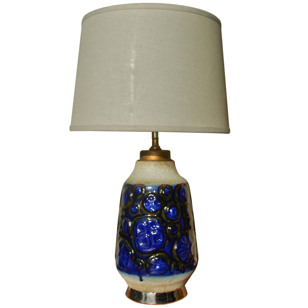 West German Carstens Textured Ceramic Lamp by Gerda Heuckeroth