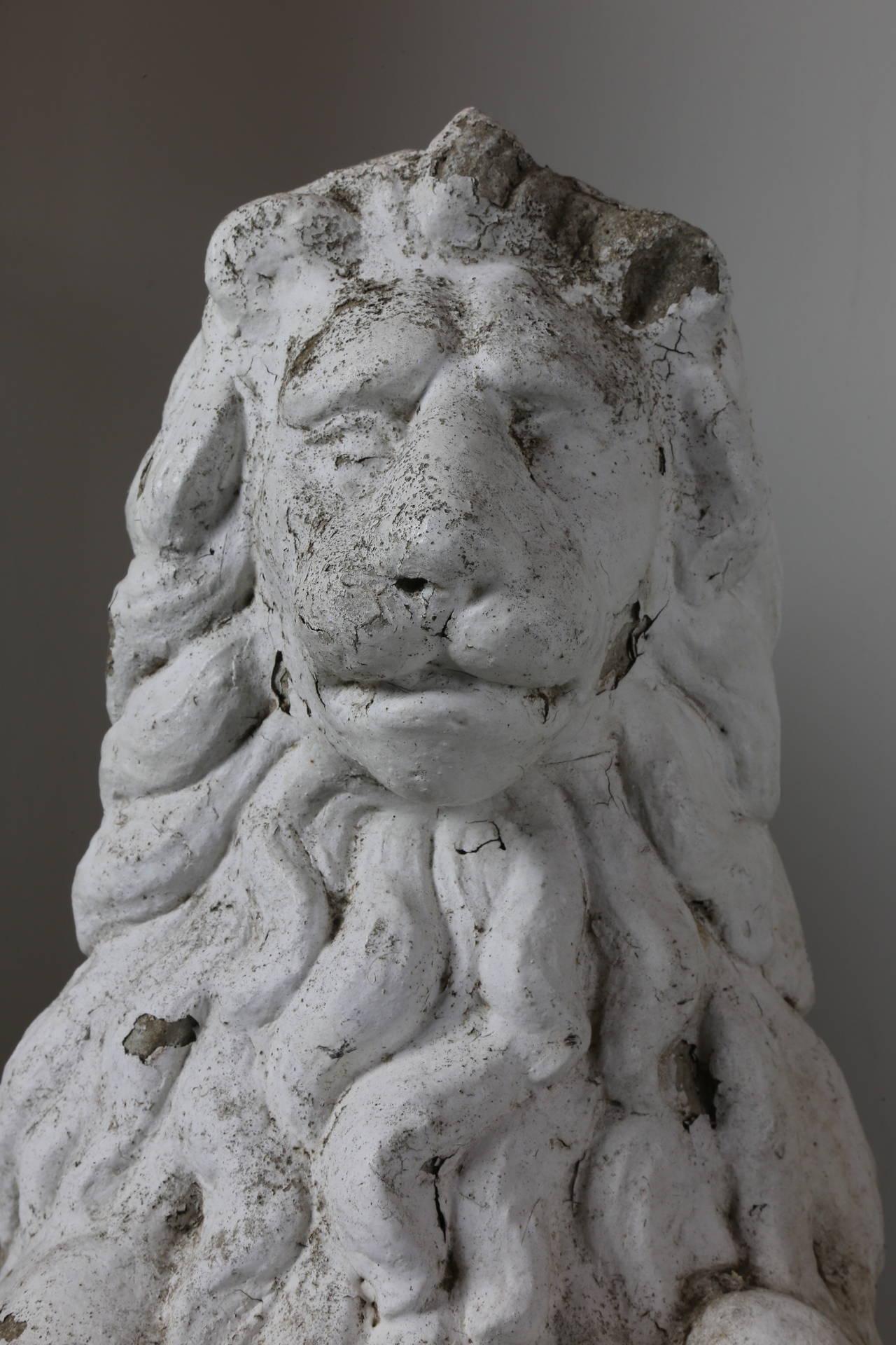 Antique Cast Concrete Architectural Lion Statues At 1stdibs
