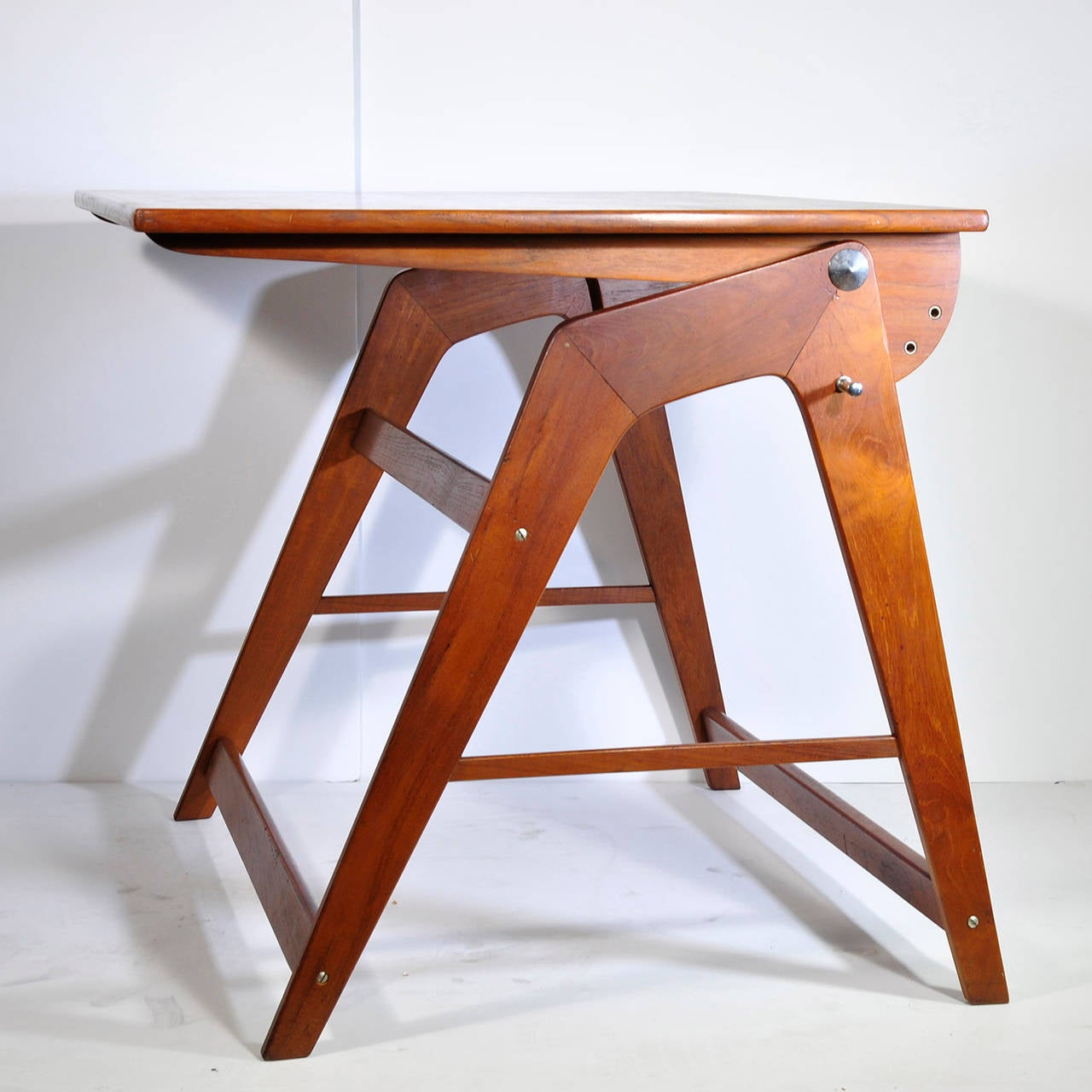 Rare Wood Small Architect Desk In Teak 1960 For Sale At