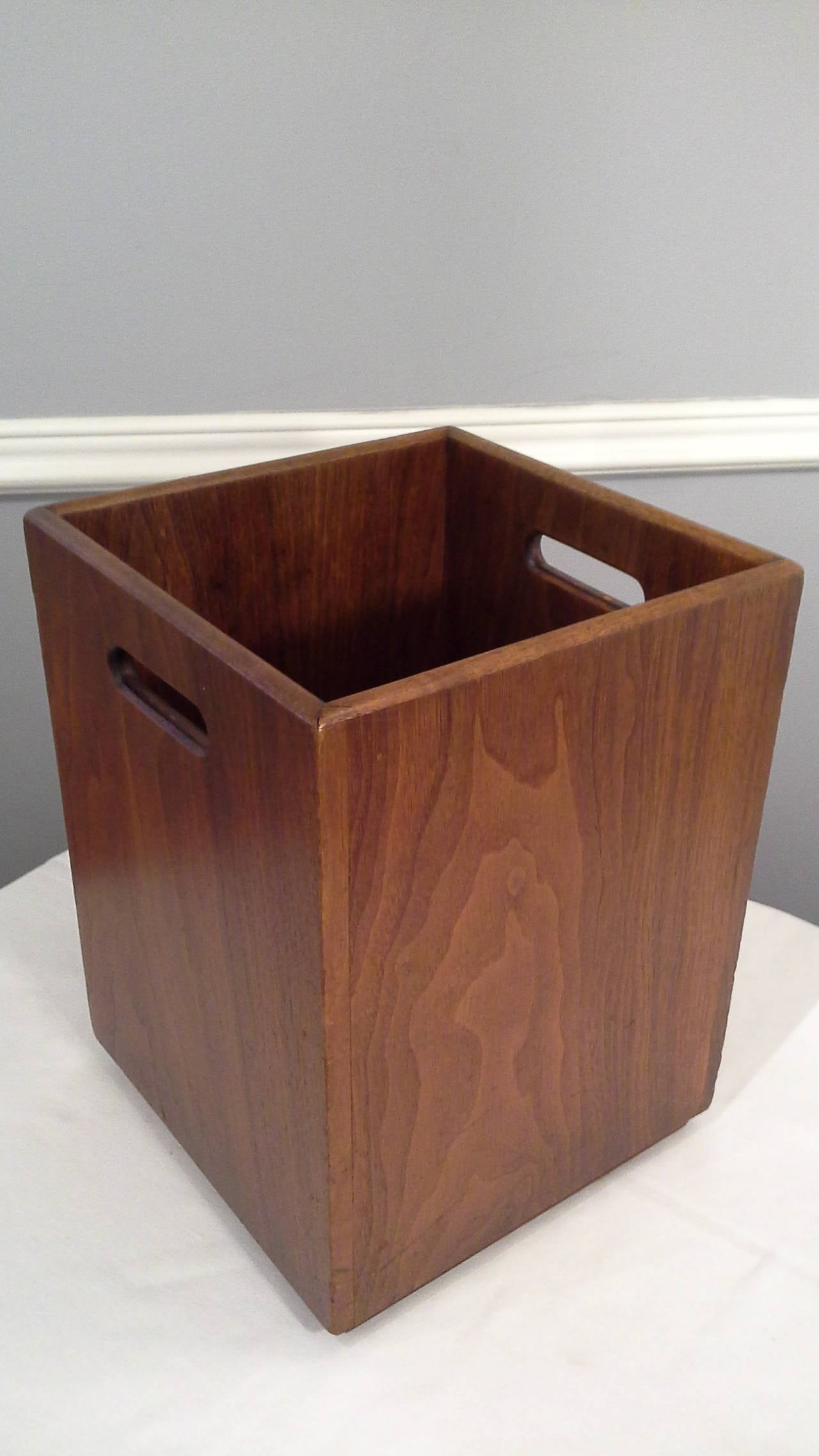 Pair Of Walnut Mid Century Waste Baskets Or Flower Pots At