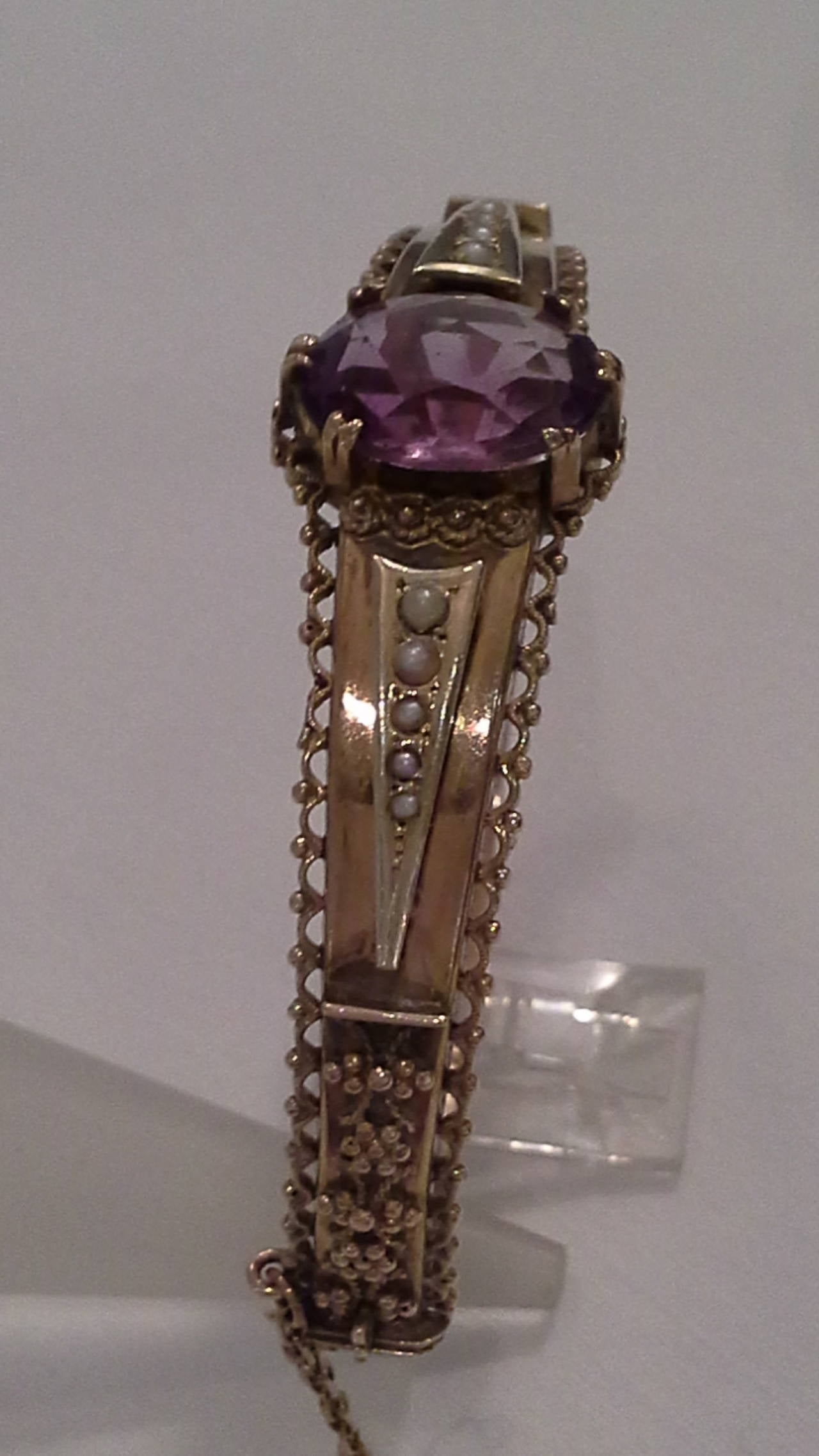 English Victorian Amethyst and Seed Pearl Bangle or Bracelet 9k Gold, Stamped .375 For Sale