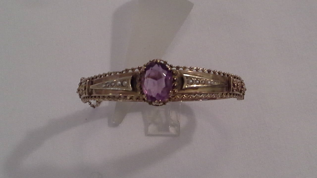 19th Century Victorian Amethyst and Seed Pearl Bangle or Bracelet 9k Gold, Stamped .375 For Sale