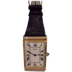 Van Cleef & Arpels 18k Gold Wristwatch with a Cabochon Sapphire Crown